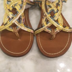 "Steve Madden ""Sysco"" Gold Sandals Size 6.5"